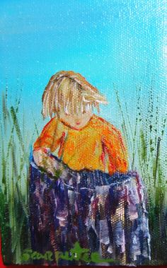 Old Wood Barrel in Grass Small Child Curious 4x6 by JellyBeanJump, $15.00
