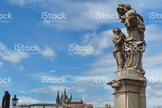 Group of statues on Charles Bridge in Prague royalty-free stock photo