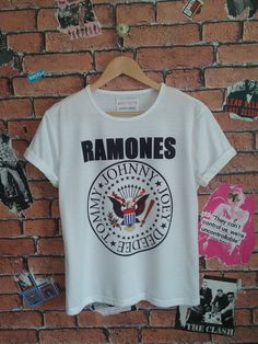 Woman's RAMONES indie t shirt/T-shirt/tee (Men's fit also available) by BADYOUTHTEES on Etsy