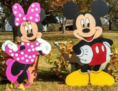 "48"" Mickey and Minnie Mouse Wooden Yard Art Decorations on Etsy, $145.00"