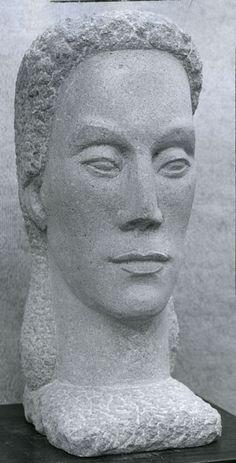"""Head of a Woman"", 1945, Jane Love, American (1892-1974), stone, 19 1/2 x 7 1/4 in. Gift of J.J. Love, 1975. 1975.2224.2"