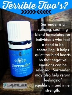 Terrible Two's? Surrender is a calming, soothing blend formulated for individuals who feel a need to be controlling. It helps quiet troubled hearts so that negative emotions can be released. Surrender may also help return feelings of equilibrium and inner strength. Heartfelt Hullabaloo #youngliving #essentialoils