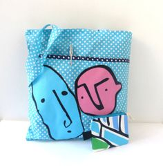 Shopping bag and cotton pouch tote eco bag zipped by artexplosive, $24.00
