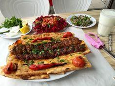 My lunch this afternoon...Adana kebab, specialty of Adana, Turkey.