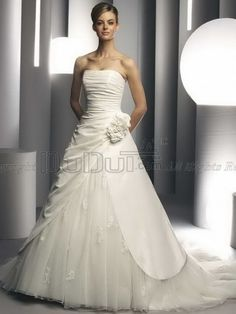 Ball Gown Strapless Sweep Church Wedding Gown With Split Front And Flower, Ball Gown Wedding Gown