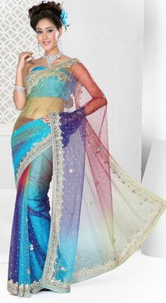 Multi Color Net Stone Work Party Wear Saree Fancy Sarees, Party Wear Sarees, Party Fashion, Fashion Outfits, Womens Fashion, Indian Dresses, Indian Outfits, Shibori Sarees, Net Saree