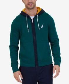 Nautica Men's Colorblockeded Zip Hoodie, A Macy's Exclusive Style - Green XXL