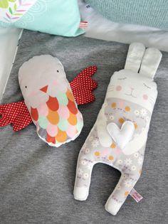 bird rattle and bunny softie by PinkNounou