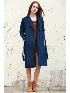 Lapel Neck Long Sleeve Denim Trench Coat #womensfashion #pinterestfashion #buy #fun#fashion