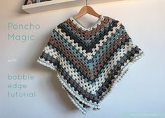 Joining in with Simply Crochet poncho fever! With a free tutorial on how to make a crochet bobble edge - by Pasta & Patchwork