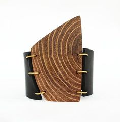 awesome Leather statement cuff bracelet - wooden cuff bracelet - unisex cuff bracelet