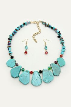 Turquoise Lara Necklace in Onyx Blend on Emma Stine Limited