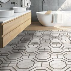 Achim Importing Co Retro self-adhesive peel and stick vinyl floor tiles imitate expensive hand-painted retro tiles but without the expensive cost nor the mess. These beautifully designed tiles recreate fresh and inviting patterns that will look stunning in any room in the home. They are a great way to add color and patterns to your kitchen, foyer, bathroom or laundry. Want a new floor for your next family gathering or party. Retro Self Adhesive Vinyl Floor Tiles can be installed in a… Luxury Vinyl Tile, Luxury Vinyl Plank, Hardwood Installation, Peel And Stick Floor, Vinyl Sheet Flooring, Black And White Tiles, Kitchen Flooring, Adhesive Vinyl, Hall Bathroom