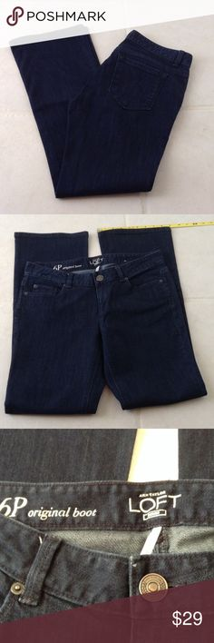 Ann Taylor Loft Denim Boot Jeans size 28/ 6 P Ann Taylor Loft Original Boot Cut Denim Blue Jeans, sits just below the waist, classic fit through hip and thigh.  Size 28/ 6 Petite.  NWT, tags are detached but I never wore them.  Dark wash Ann Taylor Loft Jeans Boot Cut