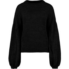 Boohoo Naomi Balloon Sleeve Oversized Jumper ($25) ❤ liked on Polyvore featuring tops, sweaters, sequin top, sequined sweater, marled sweater, party jumpers and nordic sweater