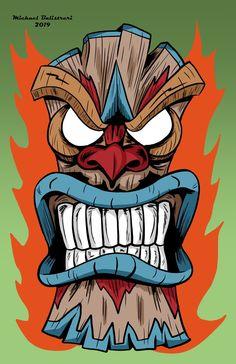 Totem Tattoo, Tiki Tattoo, Card Tattoo Designs, Old School Tattoo Designs, Tiki Maske, Tiki Faces, Tiki Head, Tiki Totem, Mask Drawing