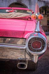 Detail of a pink classic american car,  in Havana, Cuba