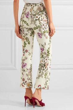 Giambattista Valli - Cropped Satin-trimmed Printed Crepe Flared Pants - Cream - IT38