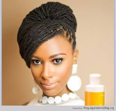 Nigerian wedding dreadlocks bridal hairstyle ~African fashion, Ankara, kitenge, African women dresses, African prints, Braids, Nigerian wedding, Ghanaian fashion, African wedding ~DKK