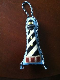 Lighthouse at Hatteras needlepoint ornament,  2014.