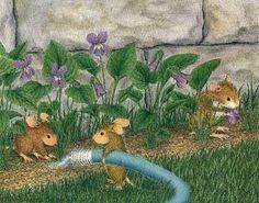 """""""Mice Garden"""" from House-Mouse Designs®. This image was recently purchased on a rubber stamp. Click on the image to see it on a bunch of other really """"Mice"""" products."""