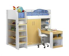 childrens furniture bunk bed wardrobe | ... Bunk Bed Frame with Pull-Out Desk & Built in Wardrobe Bedroom