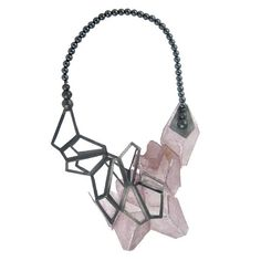 Hedda Bjerkeli -   'Crystal cluster'  My latest work is a necklace made of silver, hematite and slices of lepidolite (purple mica)