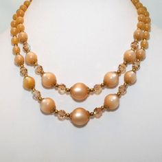 Vintage Double Strand Peach Moonglow & Crystal Necklace