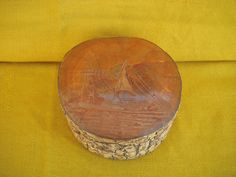 Wooden Trinket Box with Bark & Hand Carved on the Top Lighthouse & Sailing Boat