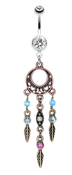 Beautiful Vintage Style Dream Catcher Belly Button Ring