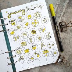 I find that these memory pages are sometimes hard to keep up with - but so much fun to look back at . Soon it's goodbye January and goodbye yellow  - we became great friends but I'm also looking forward to a colour change, January is always such a long month, don't you think? . I was inspired by the one and only @bujo_blossoms to only use one colour for these doodles . . . #bulletjournal #bujomemories #memories #filofaxclipbook #filofax #ringbinder #bujolove #bulletjournaling #bujoide...