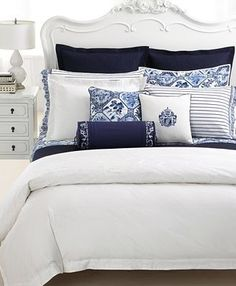 "our bedding - Lauren by Ralph Lauren Bedding, Blue and White ""Palm Harbor"" Navy Blue Bedrooms, Coastal Bedrooms, Blue Rooms, White Rooms, Blue And White Bedding, White Duvet, White Comforter Bedroom, Navy Bedding, Coastal Bedding"