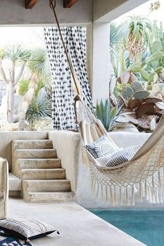 Backyard Hammock Ideas -Laying in a hammock is just one of the most relaxing things on the planet. Have a look at lazy-day backyard hammock ideas! Outdoor Rooms, Outdoor Gardens, Outdoor Living, Outdoor Decor, Outdoor Fun, Interior Exterior, Interior Design, Exterior Stairs, Design Interiors