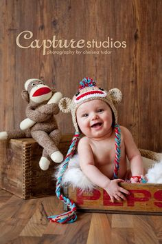 Hey, I found this really awesome Etsy listing at http://www.etsy.com/listing/75662821/sock-monkey-hat-size-newborn-0-3m-6m