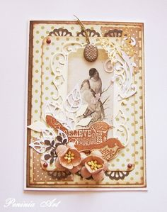 vintage style collage card with sepia photo of birts, die cuts, patterned papers, dimensional flowers...beautiful!!