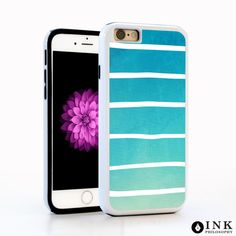 Hand Painted Stripes on Blue Watercolor Cell Case / TPU iPhone SE Case iPhone 6 Florals iPhone 6S Plus Case iPhone 5s Galaxy s5 Galaxy s6