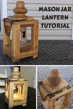Step-by-step instruc Step-by-step instructions on how to make a mason jar lantern. The light is an LED puck that is battery powered. This makes a great home decor piece and a true lantern you can carry between the house and fire pit. Mason Jar Lanterns, Wooden Lanterns, Mason Jar Lighting, Mason Jars, Diy Wood Projects, Diy Projects To Try, Wood Crafts, Vinyl Projects, Project Ideas