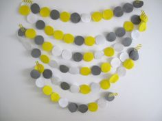 Confetti Garland // Yellow White Grey Felt Party by StampAndStitch Party Bunting, Grey And White, Confetti, Garland, Felt, Yellow, Unique Jewelry, Handmade Gifts, Stuff To Buy