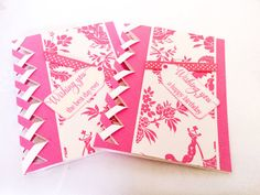 Set of 2 braided cards  fuchsia pink  birthday card  by Wcards