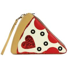 Pepperoni Pizza Slice Love Glitter Hearts Wallet Bag Wristlet Purse (€20) ❤ liked on Polyvore featuring bags, handbags, clutches, purse clutches, glitter clutches, white purse, wristlet clutches and heart handbag