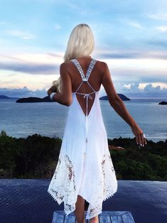white, must, beach, dress