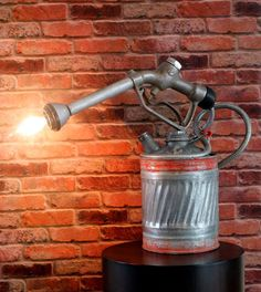 Rustic Vintage Gas Can & Blowtorch Table Lamp
