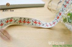 HANDMADE Free Shipping Wholesale Zakka Label Ribbon Sewing Tape 100% Cotton Ribbon Printed Ballet Girls1.5CMx30yards