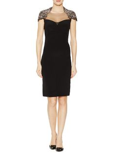 Beaded Shoulder Silk Dress by Monique Lhuillier at Gilt