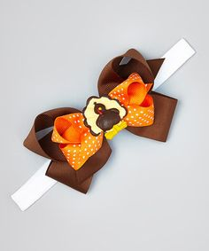 Look at this #zulilyfind! Orange Dotted Brown Turkey Headband #zulilyfinds