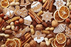 Корица Орехи Печенье Апельсин Еда