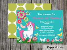 Unicorn Birthday Invitation Enchanted Unicorn Party by PaperMoment, $15.00