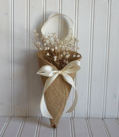 Khaki burlap pew cone / rustic wedding decor by NutfieldWeaver