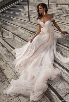 "dimitrius dalia 2018 royal off the shoulder sweetheart neckline simple tulle skirt romantic soft a line wedding dress open v back (12) mv -- Dimitrius Dalia ""Royal"" Wedding Dresses 