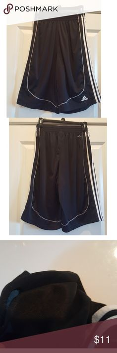 "ADIDAS EUC climalite basketball shorts Black. 23"" length! CLIMALITE These are in excellent condition almost like new. My son just didn't want them anymore because there's a small hole in side of the pocket that annoyed him ( I'd sew it but my sewing items are in storage). NO TRADES NO HOLDS Nike Shorts Athletic"